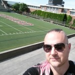 Chance Pink Mohawk at Harvard Football Field